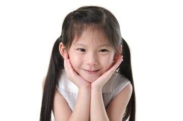 Close-up shot of a young Asian girl with smile on her face.