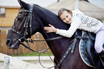 A Smiling Girl Embracing  Horseneck