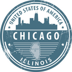 Stamp with name of Illinois, Chicago, vector