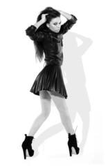 Provocative Brunette In Miniskirt