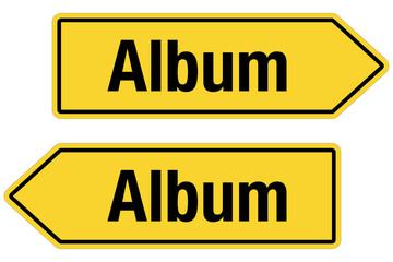 2 Pfeilschilder gelb ALBUM