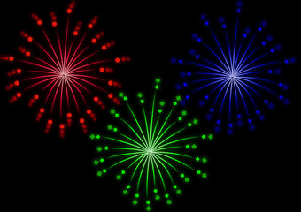 set of colored fireworks effect