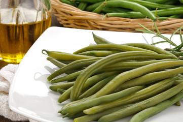 Fagiolini verdi cotti, nel piatto