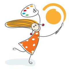 Mädchen malt Sonne