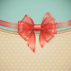 Wall Mural - Red transparent bow on vintage background