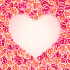Wall Mural - Valentine`s Day card on pink roses