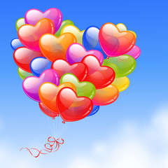Wall Mural - Colorful Heart Shaped Balloons in the sky