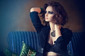 Beautiful sexy brunette woman