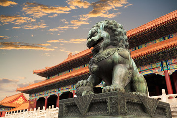 Autocollant pour porte Pekin the forbidden city in beijing