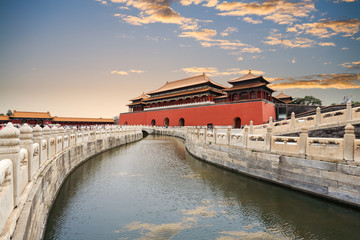 Wall Mural - the forbidden city with gold water bridge