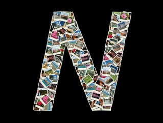 """Shape of  """"N"""" letter made like collage of travel photos"""