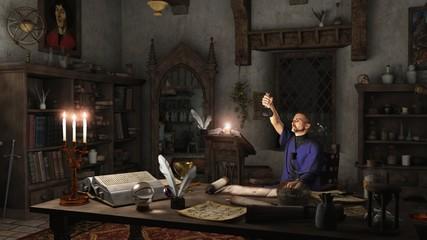 Alchemist Working in his Study
