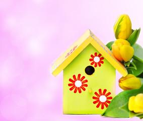 Nestbox and yellow tulips