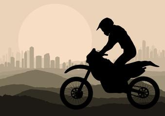 Motorbike rider in skyscraper city landscape