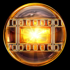 film icon golden, isolated on black background