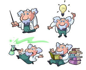 a collection of cartoon science professors