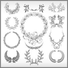 vector set of different  laurel wreaths