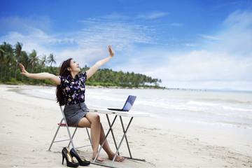 Happy businesswoman working outdoor