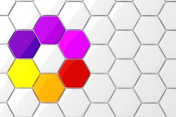 3d colorful hexagonal puzzle pieces