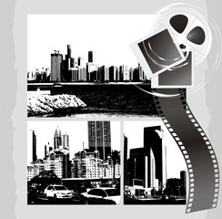 Cityscapes and film objects on the abstract background