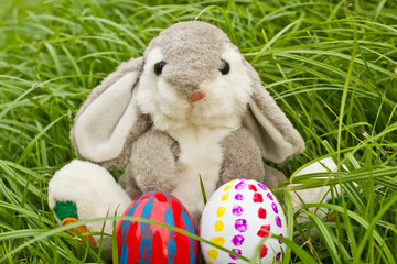 easter bunny with easter eggs