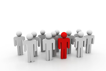 Social network people with leader