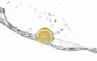 Lemon with splashing water