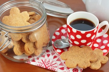 Homemade butter cookies and coffee