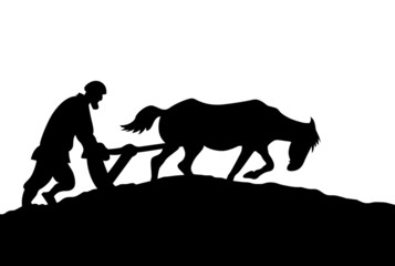 peasant silhouette on white background