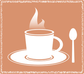 icon with silhouette spoon and hot coffee cup