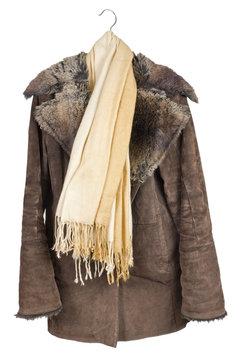 Old brown suede ladies coat