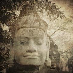 Wall Mural - Head of gate guardian, Angkor, Cambodia