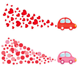 Valentin banners with car