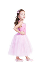 Beautiful Girl In Pink Evening Dress