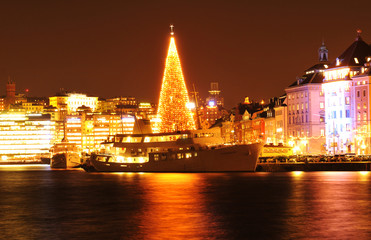 Stockholm skyline at Christmas
