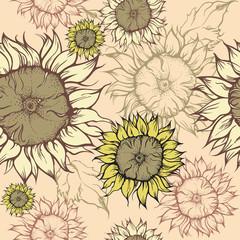 Seamless pattern - field of sunflowers