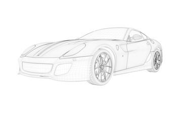 italienischer sportwagen sketch rendering