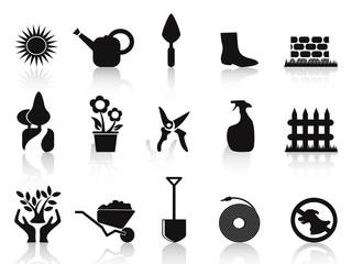 black garden icons set