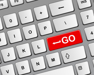 "Keyboard with red button ""GO"""
