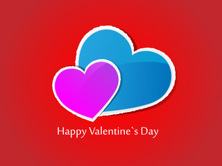 Valentine's Day card on red background. Vector illustration.
