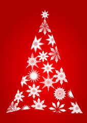 Christmas tree with snowflakes as an illustration