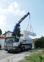 Truck Delivering Wood Package