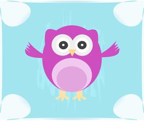 Cute Vector Owl invitation card