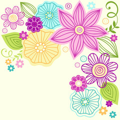 Cute Colorful Flower Doodles Vector Illustration