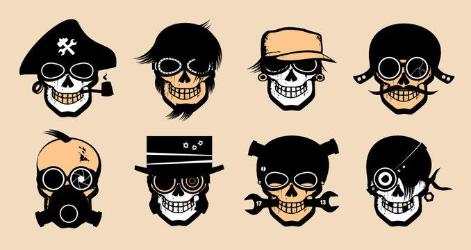 Cartoon freak icons in steampunk style