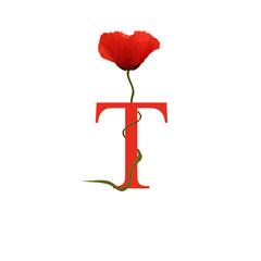 Alphabet coquelicot - T - Rouge