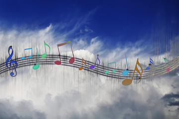 Music Notes on Cloudy Sky Background