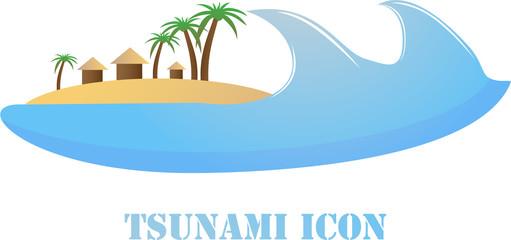 Tsunami wave icon on white background.