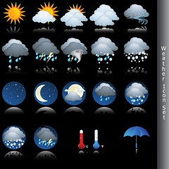 Weather icon vector set isolated on black