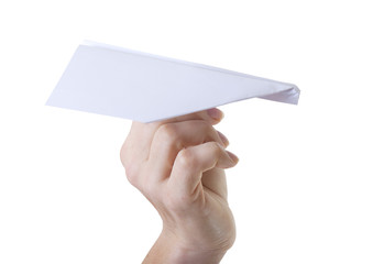 Paper plane in hand.